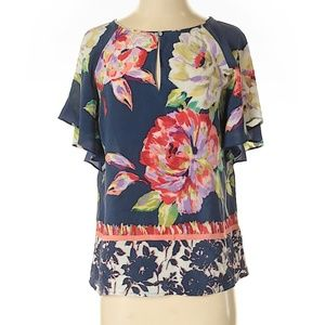 Anthropologie Maeve Silk Floral Blouse Size 8